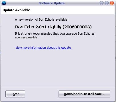 ¿Firefox 2.0 b1 se actualiza todos los días?