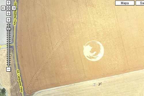 El logo gigante de Firefox desde Google Maps