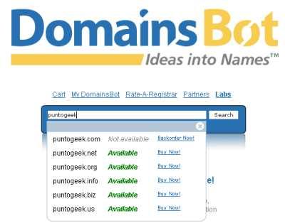 DomainsBot, whois al instante
