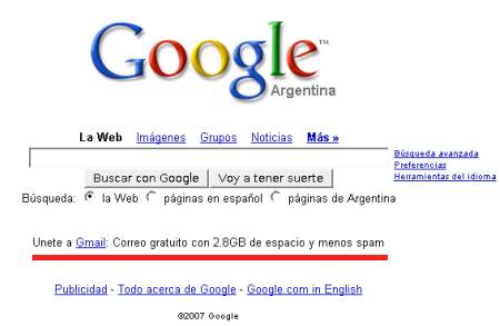 Google promocionando Gmail en su homepage
