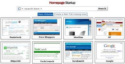 Homepage Startup, tus enlaces favoritos siempre a un click