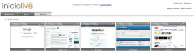 Iniciolive, página de inicio con thumbnails