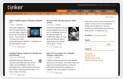 Tiinker, agregador de noticias inteligente