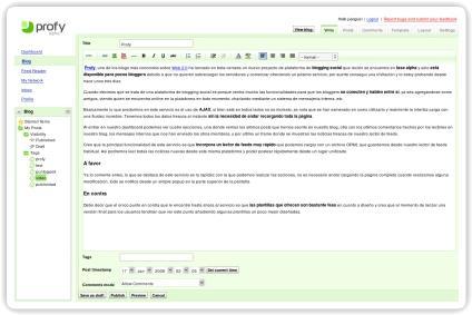 Profy lanza una plataforma de blogging social