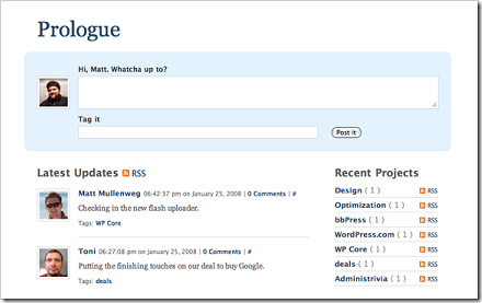 Prologue, el Twitter para WordPress