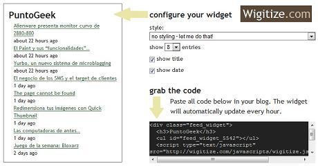 Promocina tu blog con un widget que muestre tus posts gracias a Wigitize