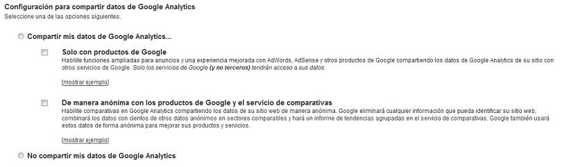 Compartir datos en Google Analytics