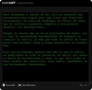DarkCopy, escribe tus textos sin distracciones