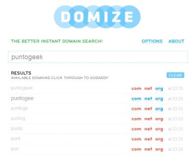 Domize, rápido buscador de dominios