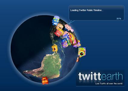 Twittearth, te muestra los Twitts de todo el mundo en un mapa 3D