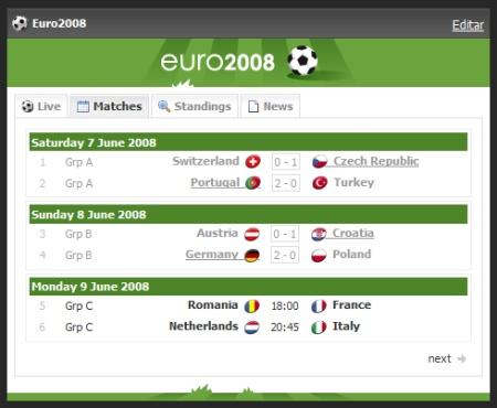 Seguir la Eurocopa 2008 a través de tu Netvibes