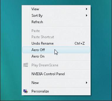 Activar o desactivar Windows Aero con un sólo click