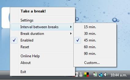 Aplicación que te avisa para tomar descansos al trabajar en la computadora