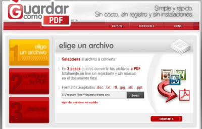 Convertir formatos de archivo y GuardarcomoPDF