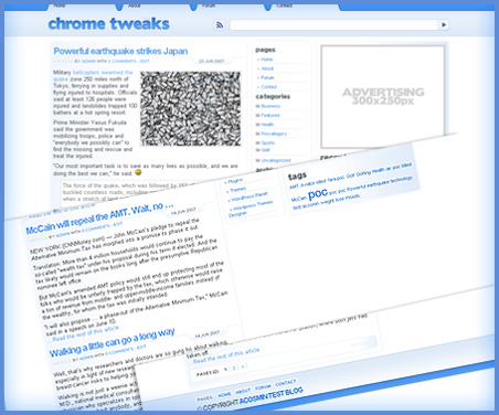 Chrome Tweaks, theme con estilo Chrome para WordPress
