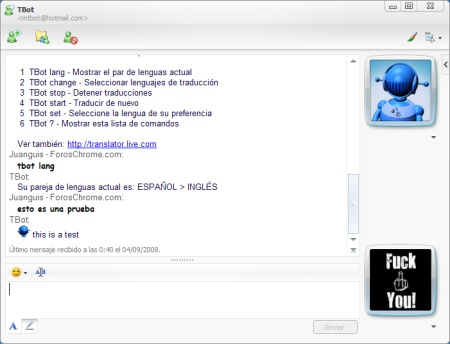 Bot de traducción para Windows Live Messenger