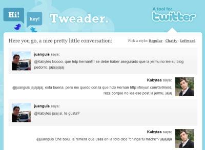 Sigue una conversación de Twitter sin perderte con Tweader