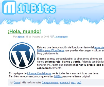 MilBits, interesante theme para WordPress