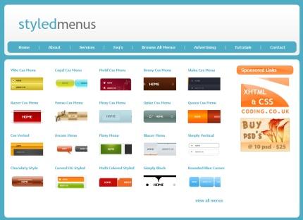 Menúes en CSS gratuitos para descargar