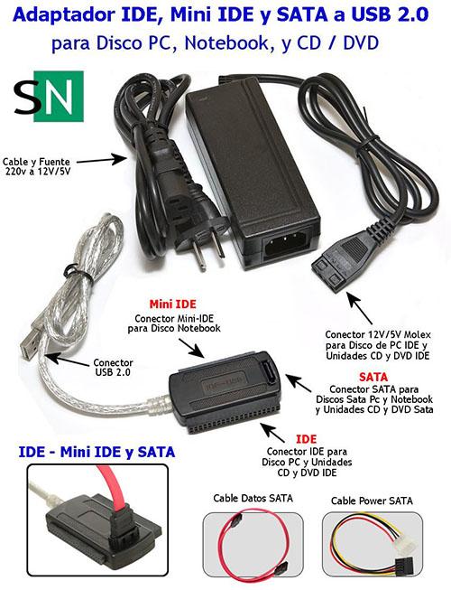 Adaptador SATA, IDE y Mini IDE a USB