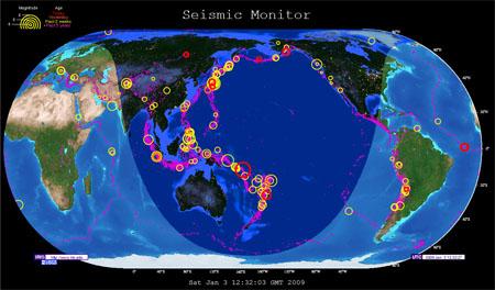 Monitor de la actividad sísmica de todo el mundo online