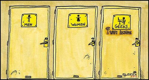 Imagenes De Baño Animadas:Humor: Baños para hombres, mujeres y geeks