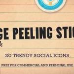 Iconos sociales en forma de stickers