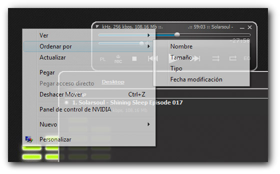 Menú contextual transparente en Windows