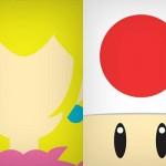 Personajes de Mario minimalistas