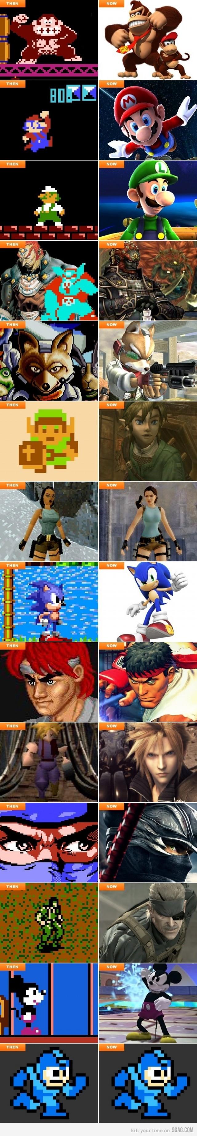 Personajes de los videojuegos antes y despues