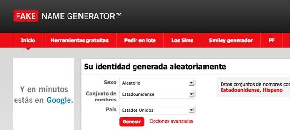Fake Name Generator: Generador de nombres falsos para registrarte en