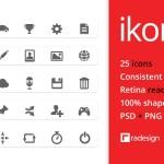 Ikonic, 25 Iconos gratis PSD y PNG listos para Retina Display
