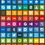 100 iconos de redes sociales estilo Flat