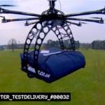 Usando un drone para hacer delivery de pizza