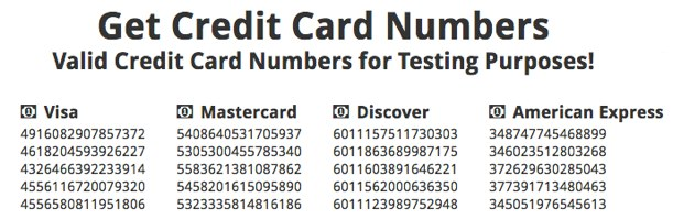 Credit Card Numbers Generator | Get Fake Credit Card Numbers for Testing Purposes